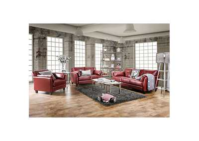 Pierre Red Sofa and Loveseat