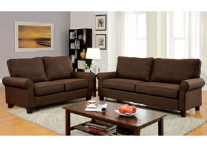 Hensel Brown Flax Fabric Sofa and Loveseat