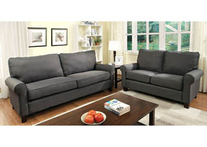 Hensel Gray Flax Fabric Sofa and Loveseat