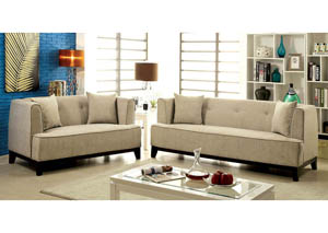 Sofia Beige Sofa and Loveseat
