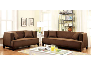 Sofia Brown Sofa and Loveseat