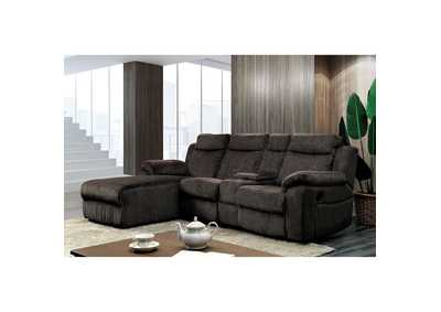 Kamryn Brown Chenille Sectional w/Console