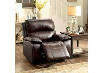 Ruth Brown Top Grain Leather Match Reclining Chair
