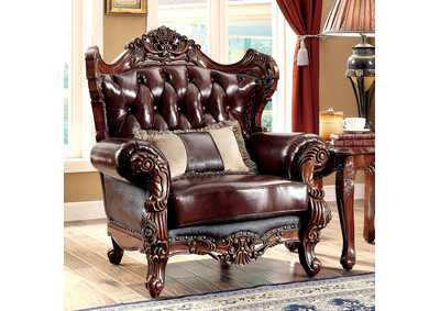 Jericho Brown Top Grain Leather Chair w/Pillow