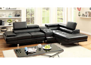 Kemina Black Bonded Leather Sectional w/Speaker Console