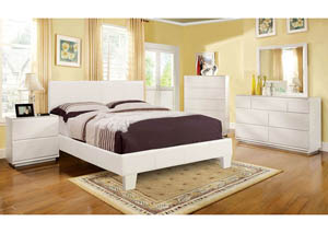 Winn Park White Upholstered Eastern King Platform Bed