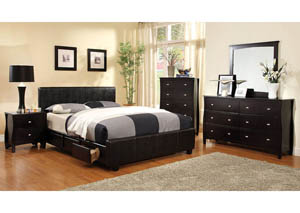 Burlington Upholstered Espresso Queen Platform Storage Bed