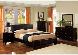 Uptown Upholstered Espresso Queen Platform Bed