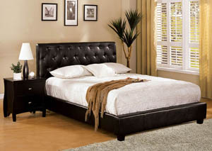 Concord Espresso Eastern King Upholstered Platform Bed