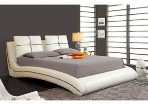 Ourem White Eastern King Curved Platform Bed