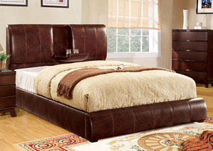 Webster Brown Queen Upholstered Platform Bed