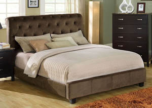 Lemoore Dark Brown Upholstered Full Bed