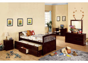 Bella Dark Walnut Full Platform Bed w/Trundle & 3 Drawers