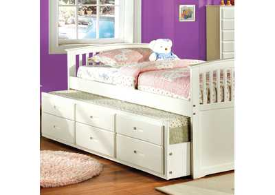 Bella White Full Platform Bed w/Trundle & 3 Drawers