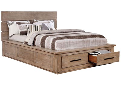 Oakes Tan Platform Storage Queen Bed