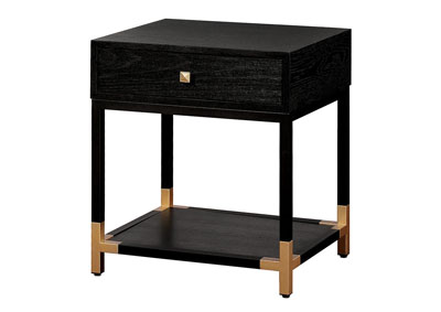 Carmela Black/Gold Nightstand