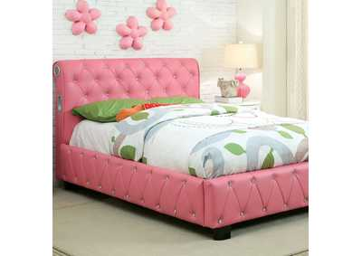 Juilliard Pink Leatherette Full Platform Bed