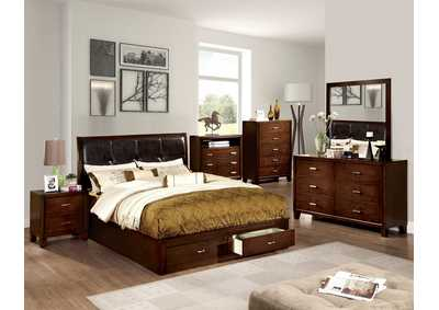 Enrico III Brown Cherry Eastern King Platform Storage Bed