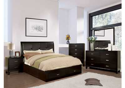 Image for Enrico III Espresso Eastern King Platform Storage Bed w/Dresser and Mirror