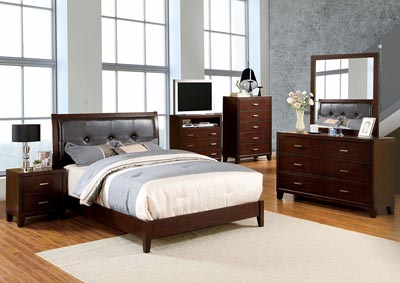 Enrico l Brown Cherry Queen Platform Bed w/Dresser and Mirror