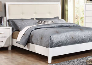 Enrico I White Eastern King Upholstered Platform Bed