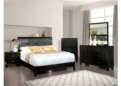 Enrico I Espresso Full Platform Bed w/Dresser and Mirror