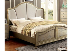 Nisha Gold Camelback Upholstered/Platform California King Bed w/Crocodile Panel