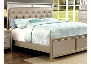 Briella Silver Platform Queen Bed w/Mirror Panels