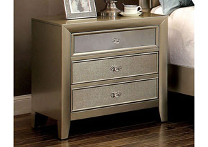 Briella Silver Nightstand w/Mirror Panel