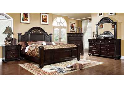 Syracuse Dark Walnut California King Poster Bed w/Dresser and Mirror