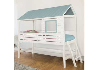 Omestead White and Blue Full Size House Bed