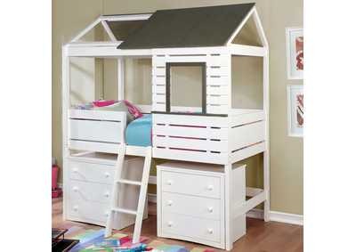 Farem White/Gray Twin Sized House Bed
