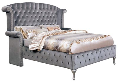 Alzir Gray Upholstered Queen Bed