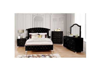 Alzire Black Upholstered Eastern King Platform Bed w/Dresser & Mirror