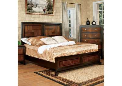 Patra Acacia & Walnut California King Panel Bed w/Dresser and Mirror