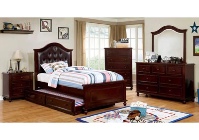 Olivia Dark Walnut Twin Platform Bed w/Trundle