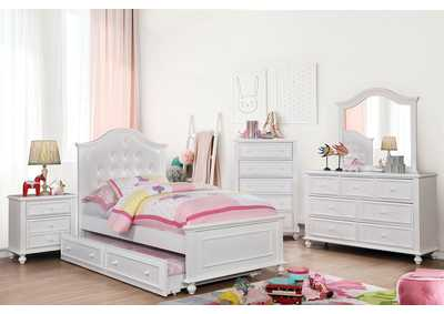 Olivia White Full Platform Bed w/Trundle