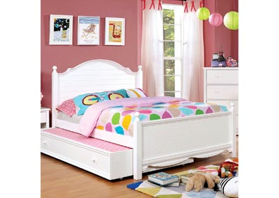 Dani White Full Platform Bed (Trundle Not Included)