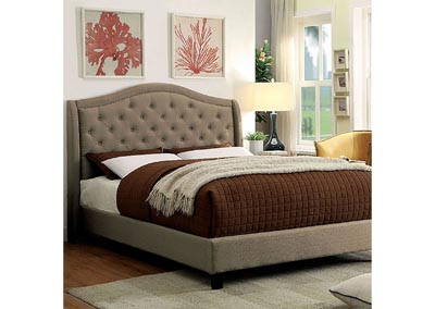 Carly Warm Gray Upholstered California King Platform Bed
