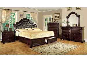Scottsdale Brown Cherry California King Upholstered Platform Storage Bed w/Dresser and Mirror