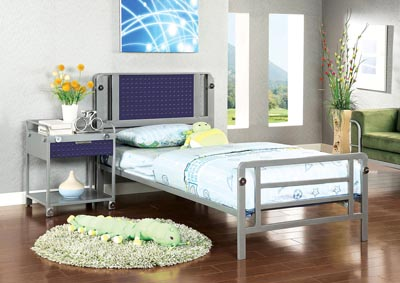 Prado I Silver & Dark Blue Full Platform Bed