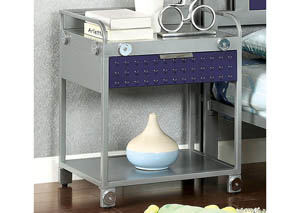 Prado I Silver & Dark Blue Night Stand