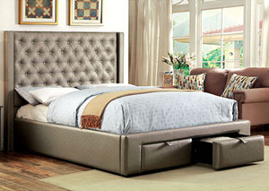 Corina Silver Queen Upholstered Platform Bed w/2 Drawers