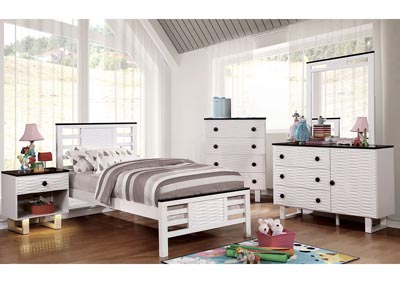 Meredith Dark Walnut/White Full Platform Bed