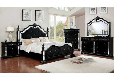 Azha Black Eastern King Poster Bed w/Dresser & Mirror