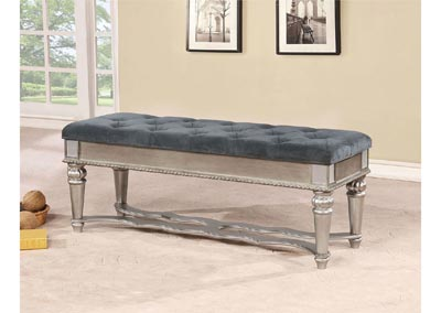 Azha Silver Upholstered Bench w/Glass-Inserts