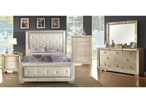 Loraine Silver Upholstered Queen Platform Bed w/Dresser, Mirror, Drawer Chest, and Nightstand