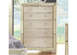 Loraine Silver Chest w/Antique Mirror Panels