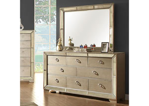 Loraine Silver Dresser w/Antique Mirror Panels