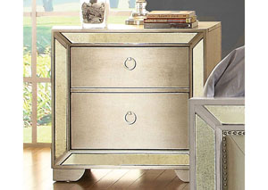Loraine Silver Nightstand w/Antique Mirror Panels